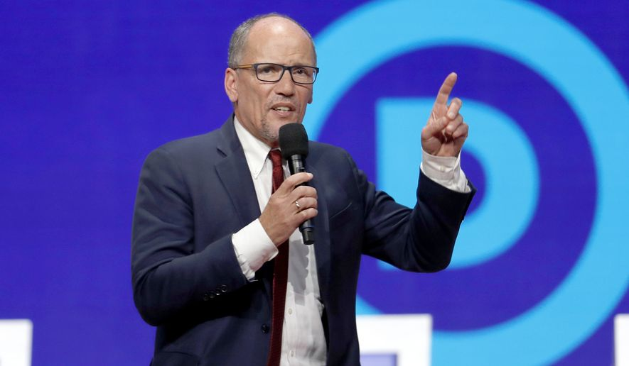 In this Tuesday, Oct. 15, 2019, file photo, Tom Perez speaks before a Democratic presidential primary debate hosted by CNN/New York Times at Otterbein University, in Westerville, Ohio. (AP Photo/John Minchillo, File)