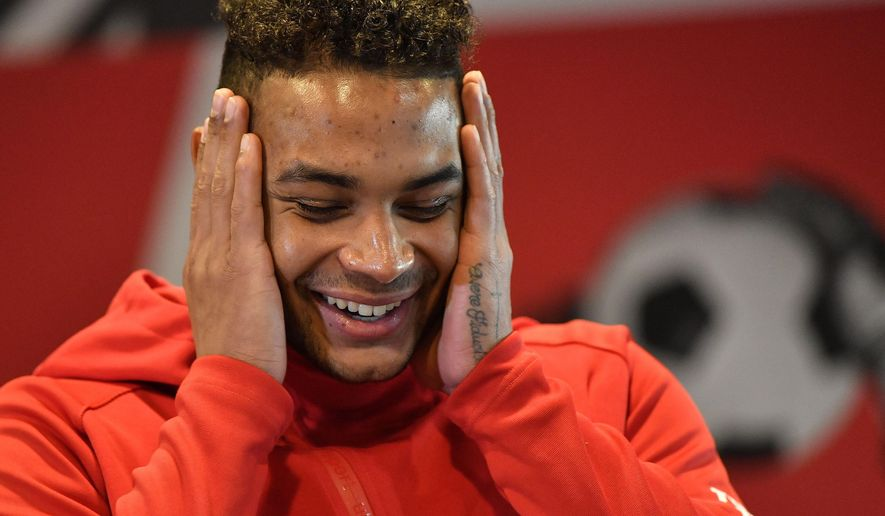 In this Wednesday, Dec. 4, 2019 photo US national goal keeper Zack Steffen, playing for the German Bundesliga soccer club Fortuna Duesseldorf, gestures during an interview with the Associated Press at the Stadium in Duesseldorf, Germany. (AP Photo/Martin Meissner) **FILE**