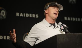 Oakland Raiders head coach Jon Gruden gestures during a news conference at the end of an NFL football game against the Jacksonville Jaguars in Oakland, Calif., Sunday, Dec. 15, 2019. (AP Photo/Ben Margot)