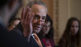 Senate Minority Leader Chuck Schumer, D-N.Y., speaks to reporters after saying on the floor that he wants to call top White House officials to testify for the Senate trial, which is set to start next year if the House impeaches President Donald Trump this week, at the Capitol in Washington, Tuesday, Dec. 17, 2019. (AP Photo/J. Scott Applewhite) **FILE**