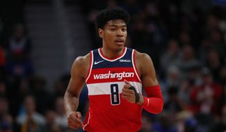 Washington Wizards forward Rui Hachimura plays against the Detroit Pistons in the first half of an NBA basketball game in Detroit, Monday, Dec. 16, 2019. (AP Photo/Paul Sancya) **FILE**