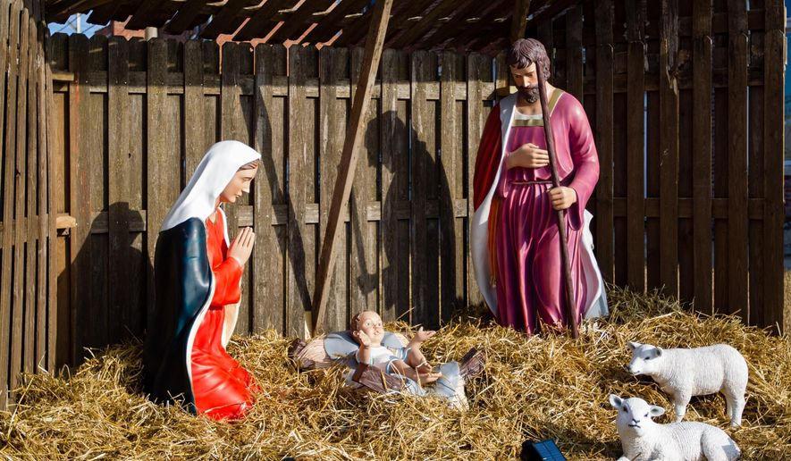 This Dec. 10, 2019, photo shows a relocated Nativity scene in Centerville, Iowa. Many residents of the small southern Iowa city have been angered by a decision to move a nativity scene from the courthouse lawn to outside a nearby church. (Kyle Ocker/The Daily Iowegian via AP) ** FILE **