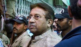 In this April 20, 2013, file photo, Pakistan's former President and military ruler Pervez Musharraf arrives at an anti-terrorism court in Islamabad, Pakistan. A Pakistani court sentenced the country's former military ruler to death in a treason case relating to the imposition of a state of emergency by him in 2007 when he was in power. Musharraf who is apparently sick and receiving treatment in Dubai where he lives was not present in the courtroom when judges announced ruling on Tuesday, Dec. 17, 2019. (AP Photo/Anjum Naveed, File)