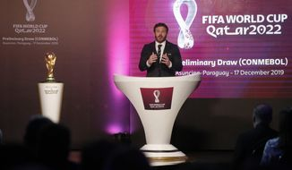 Alejandro Dominguez, head of the South American soccer governing body Conmebol, presents the draw for Qatar 2022 South American qualifiers in Asuncion, Paraguay, Tuesday, Dec. 17, 2019. (AP Photo/Cesar Olmedo)
