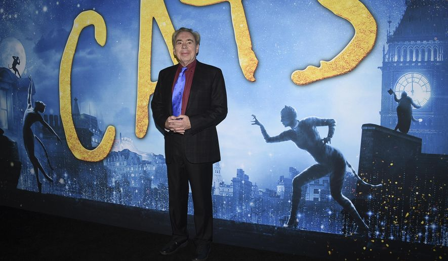 """Executive producer/composer Andrew Lloyd Webber attends the world premiere of """"Cats,"""" at Alice Tully Hall, Monday, Dec. 16, 2019, in New York. (Photo by Evan Agostini/Invision/AP)"""