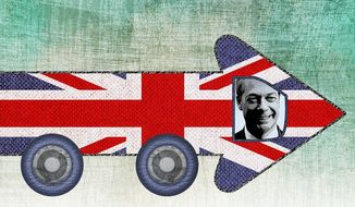 Driving the Brexit Bus Illustration by Greg Groesch/The Washington Times