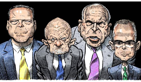 Illustration on former intelligence chiefs Brennan, Clapper, Comey and McCabe by Alexander Hunter/The Washington Times