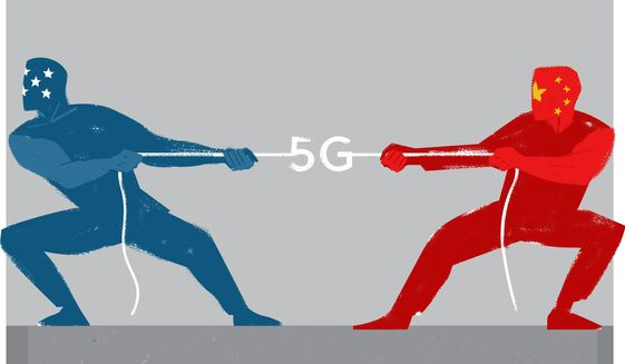 Illustration on 5G technology by Linas Garsys/The Washington Times