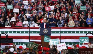 President Donald Trump speaks at a campaign rally in Battle Creek, Mich., Wednesday, Dec. 18, 2019. (AP Photo/Paul Sancya)