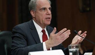 Department of Justice Inspector General Michael Horowitz testifies at a Senate committee on FISA investigation hearing, Wednesday, Dec. 18, 2019, on Capitol Hill in Washington. (AP Photo/Jacquelyn Martin)