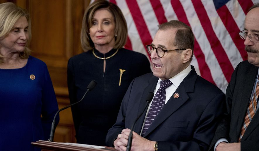 House Judiciary Committee Chairman Jerrold Nadler, D-N.Y., second from right, accompanied by House Speaker Nancy Pelosi of Calif., second from left, House Committee on Oversight and Reform Chairwoman Carolyn Maloney, D-N.Y., left, and House Foreign Affairs Committee Chairman Eliot Engel, D-N.Y., right, speaks at a news conference after the House votes to impeach President Donald Trump, Wednesday, Dec. 18, 2019, on Capitol Hill in Washington. (AP Photo/Andrew Harnik)
