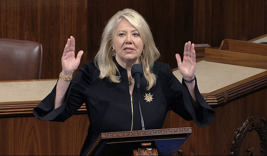 Rep. Debbie Lesko, R-Ariz., speaks as the House of Representatives debates the articles of impeachment against President Donald Trump at the Capitol in Washington, Wednesday, Dec. 18, 2019. (House Television via AP)