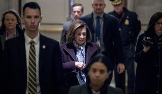 House Speaker Nancy Pelosi of Calif. arrives the morning before the House is expected to impeach President Donald Trump, Wednesday, Dec. 18, 2019, on Capitol Hill in Washington. (AP Photo/Andrew Harnik)
