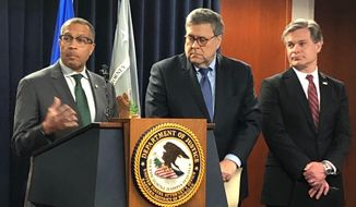 Detroit Police Chief James Craig,left, speaks as U.S. Attorney General William Barr, and FBI Director Christopher Wray listen during the announcement of a  new national crime reduction initiative, Wednesday, Dec. 18, 2019, in Detroit. (AP Photo/Corey Williams)