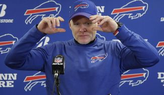 Buffalo Bills head coach Sean McDermott takes questions during a news conference after an NFL football game against the Pittsburgh Steelers, Sunday, Dec. 15, 2019, in Pittsburgh. The Steelers lost 17-10. (AP Photo/Don Wright)