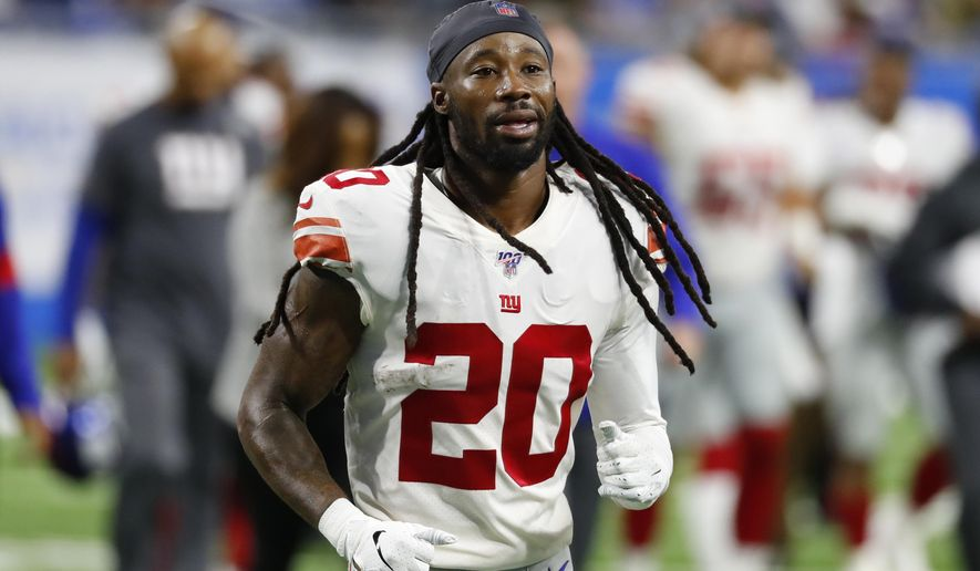 FILE - In this Oct. 27, 2019, file photo, New York Giants cornerback Janoris Jenkins runs to the locker room, at the team's NFL football game against the Detroit Lions in Detroit. The Giants waived Jenkins last week; he joined the New Orleans Saints this week. (AP Photo/Paul Sancya, File)