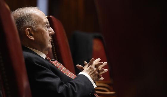 Democratic Senate President Pro Tempore Martin Looney listens to fellow senators during special session at the State Capitol in Hartford, Conn., Wednesday, Dec. 18, 2019. (AP Photo/Jessica Hill)