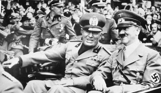 "Under Benito Mussolini (left), Italy was a pioneer of the fascist ideology in Europe and an early ally of Germany's Nazi government. Police raided 19 extremists' homes who they found to be openly ""pro-Nazi, xenophobic, and anti-Semitic."" (ASSOCIATED PRESS)"