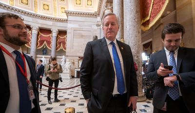 Rep. Mark Meadows, North Carolina Republican, said on Thursday that he will retire when his term ends in 2020. Mr. Meadows, a big defender of President Trump, said he could leave proud of what he accomplished in Congress. (Associated Press)