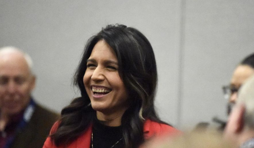 Democratic presidential candidate U.S. Rep. Tulsi Gabbard, D-Hawaii speaks to Democrats gathered at the Spratt Issues Conference in Greenville, S.C., Saturday, Dec. 14, 2019. (AP Photo/Meg Kinnard) ** FILE **