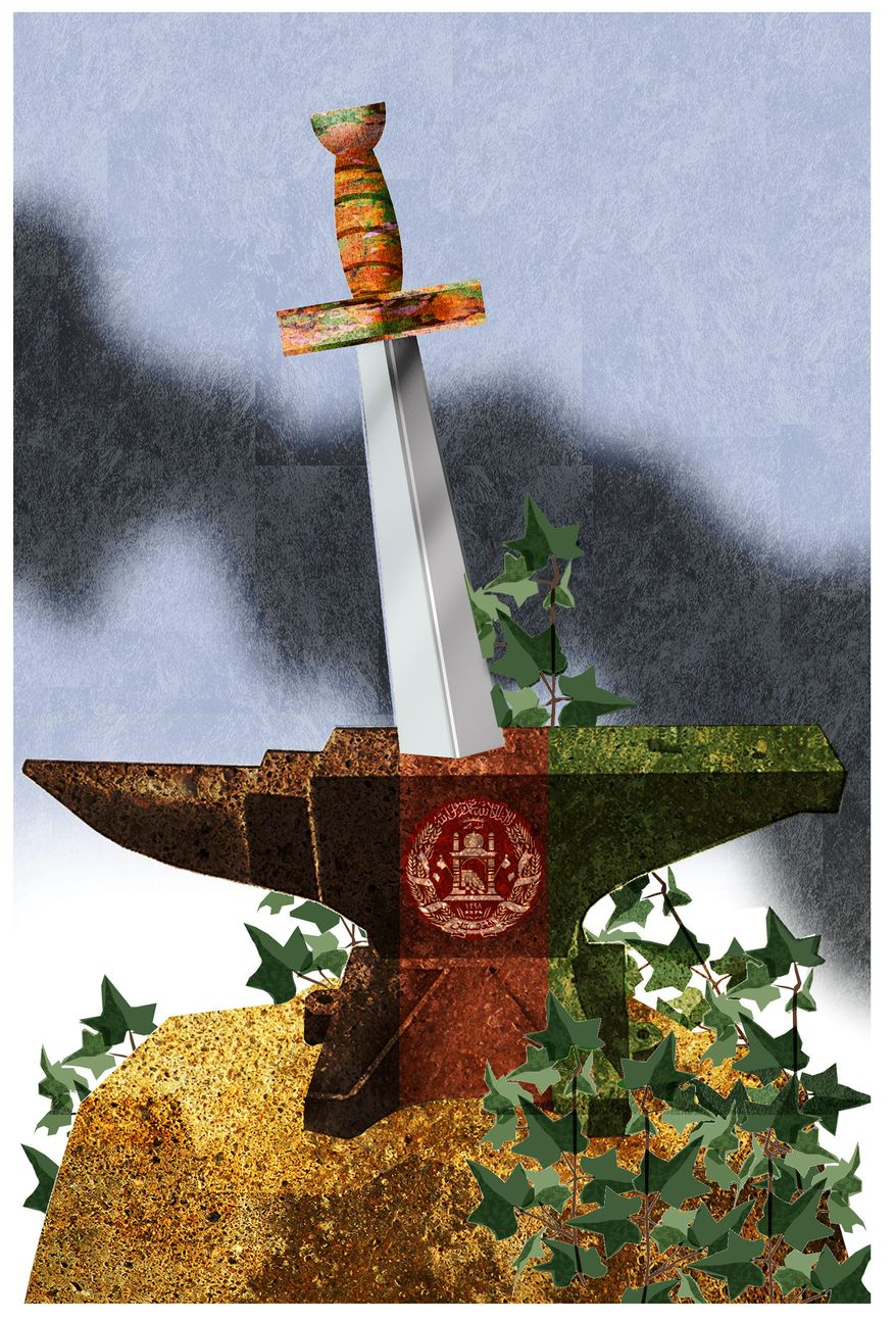 Illustration on ending the war in Afghanistan by Alexander Hunter/The Washington Times