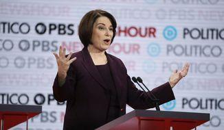 Democratic presidential candidate Sen. Amy Klobuchar, D-Minn., speaks during a Democratic presidential primary debate Thursday, Dec. 19, 2019, in Los Angeles. (AP Photo/Chris Carlson) ** FILE **