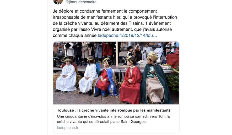 French children at the Place Saint-Georges were peppered with insults by left-wing activists on Dec. 14, 2019, while performing a nativity play. (Image: Toulouse Mayor Jean-Luc Moudenc)