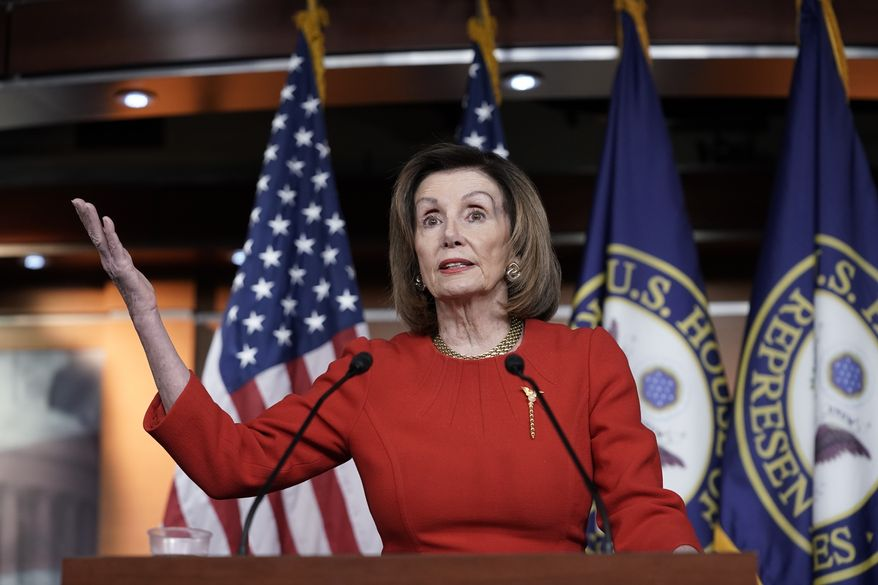 House Speaker Nancy Pelosi, D-Calif., meets with reporters at the Capitol in Washington, Thursday, Dec. 19, 2019, on the day after the House of Representatives voted to impeach President Donald Trump on two charges, abuse of power and obstruction of Congress. (AP Photo/J. Scott Applewhite)