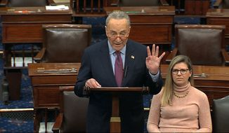 Senate Minority Chuck Schumer of N.Y., speaks on the Senate floor, Thursday, Dec. 19, 2019 at the Capitol in Washington. (Senate TV via AP)
