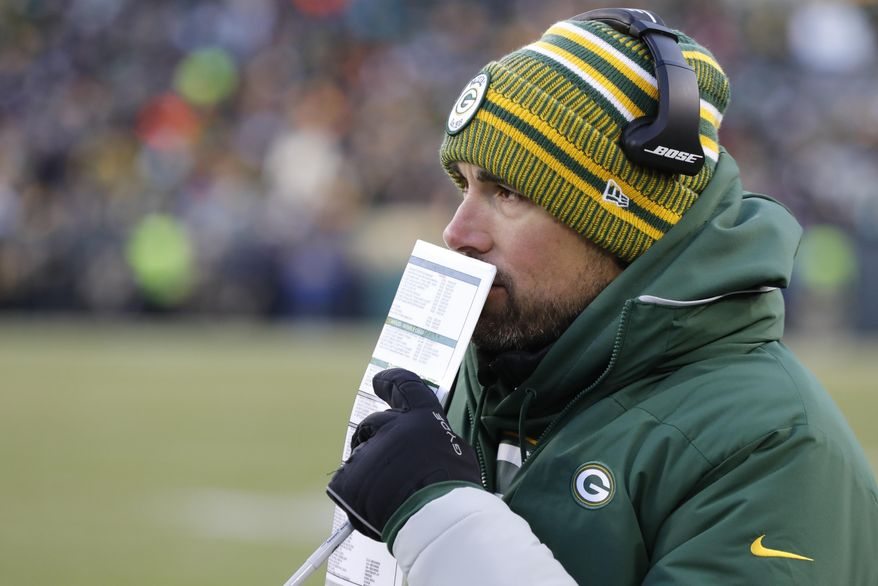 Green Bay Packers head coach Matt LaFleur calls a play during the second half of an NFL football game against the Chicago Bears Sunday, Dec. 15, 2019, in Green Bay, Wis. The Packers won 21-13. (AP Photo/Mike Roemer)