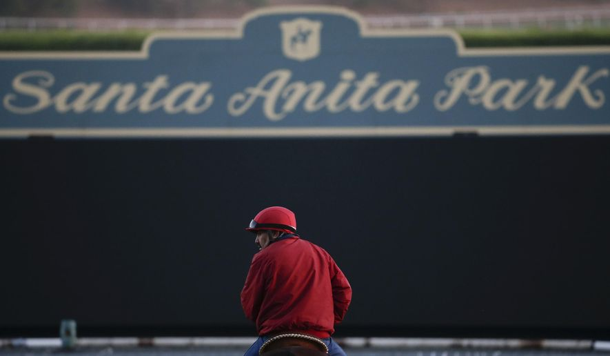 FILE - In this Oct. 29, 2014, file photo, an outrider waits by the track as horses train for the Breeders' Cup horse races at Santa Anita Park in Arcadia, Calif. An investigation into numerous horse deaths at Santa Anita Park found no criminal wrongdoing but produced a list of recommendations for improving safety at all California racetracks, the Los Angeles County district attorney said in a report Thursday Dec. 19, 2019. (AP Photo/Jae C. Hong, File)