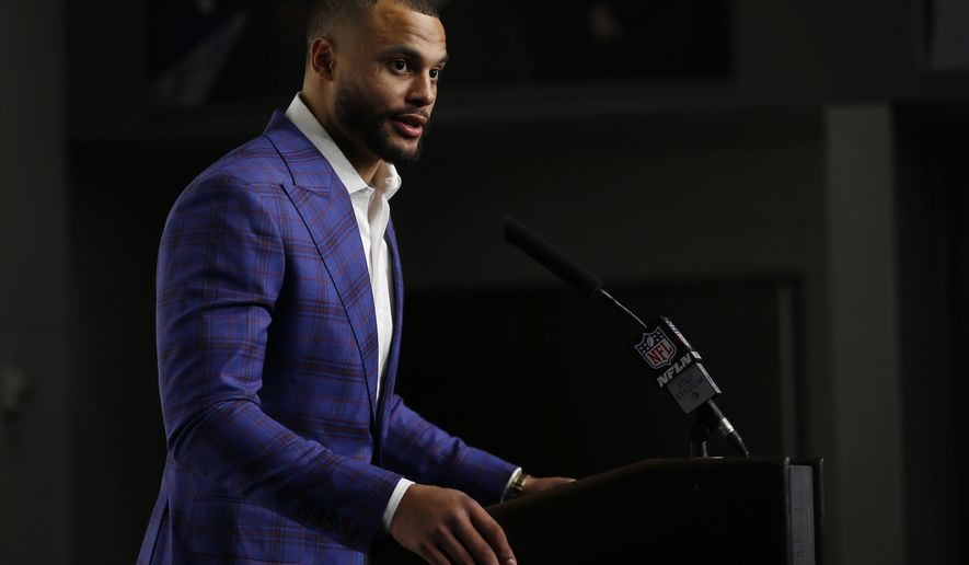Dallas Cowboys quarterback Dak Prescott speaks during a news conference following an NFL football game against the Los Angeles Rams in Arlington, Texas, Sunday, Dec. 15, 2019. (AP Photo/Ron Jenkins)