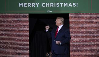 President Donald Trump speaks during a campaign rally at Kellogg Arena, Wednesday, Dec. 18, 2019, in Battle Creek, Mich. (AP Photo/Evan Vucci, File)