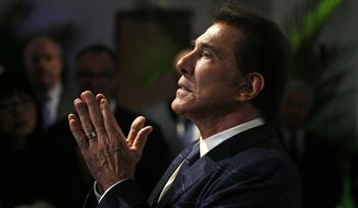 FILE - In this March 15, 2016 file photo, casino mogul Steve Wynn gestures during a news conference in Medford, Mass. Nevada gambling regulators decided they have jurisdiction to discipline former Las Vegas casino mogul Steve Wynn over allegations of workplace sexual harassment. (AP Photo/Charles Krupa, File)