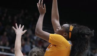 Tennessee's Kasiyahna Kushkituah, right, shoots over Stanford's Hannah Jump (33) during the first half of an NCAA college basketball game Wednesday, Dec. 18, 2019, in Stanford, Calif. (AP Photo/Ben Margot)