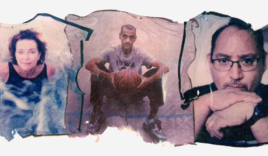 This combination of photos made from individual Polaroid emulsion transfers shows, from left, Dorothy Small, 65; Patrick Shepard, 48, and Jacob Olivas, 50. They were believers_before their trust was tested, fractured or blown apart entirely by sexual abuse at the hands of a priest. (AP Photo/Wong Maye-E)