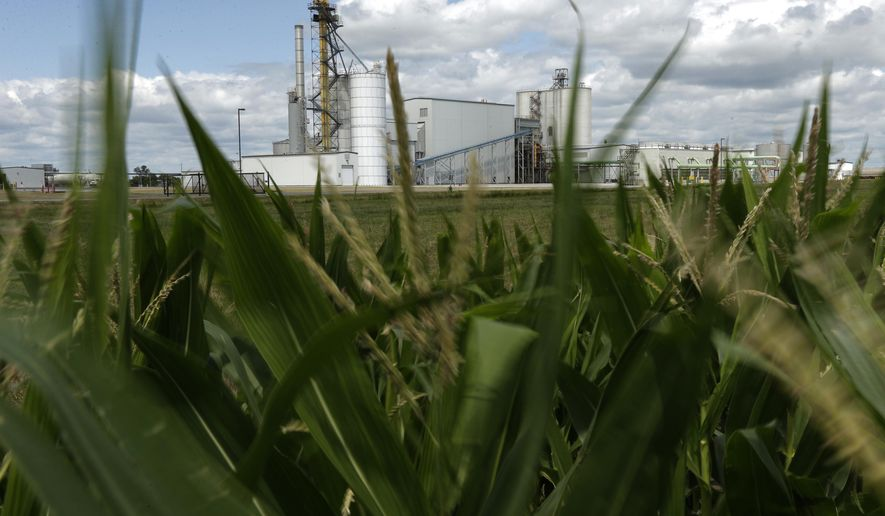 FILE - In this July 20, 2013, file photo, an ethanol plant stands next to a cornfield near Nevada, Iowa. Some farm groups and farm-state lawmakers are expressing anger at the Trump administration over final ethanol rules that they say fail to uphold the president's promises to the industry. The Environmental Protection Agency has released final renewable fuel standard rules for next year that do not include language President Donald Trump agreed to that would guarantee 15 billion gallons of ethanol is blended into the nation's gasoline supply. (AP Photo/Charlie Riedel, File)