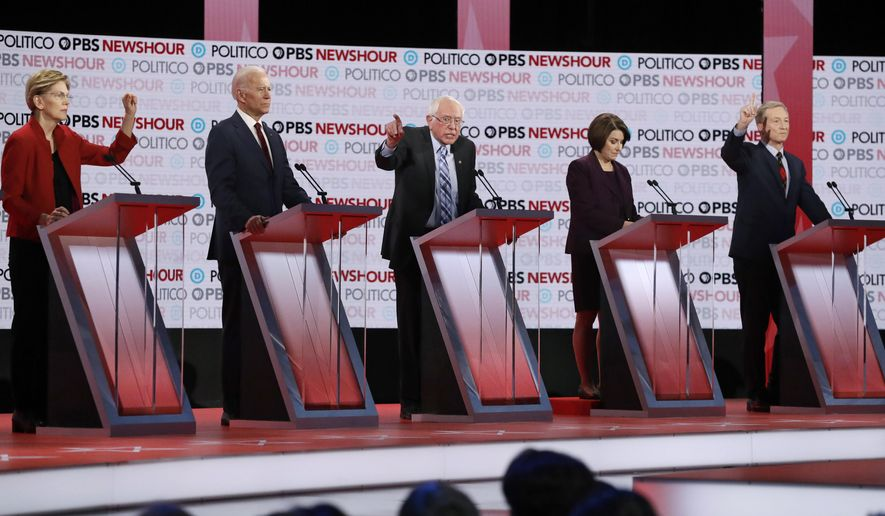 Democratic presidential candidates from left, Sen. Elizabeth Warren, D-Mass., former Vice President Joe Biden, Sen. Bernie Sanders, I-Vt., Sen. Amy Klobuchar, D-Minn., and businessman Tom Steyer participate during a Democratic presidential primary debate Thursday, Dec. 19, 2019, in Los Angeles. (AP Photo/Chris Carlson)