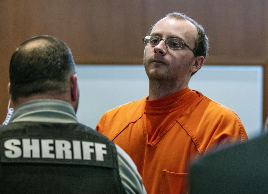 In this March 27, 2019, file photo, Jake Patterson appears for a hearing at the Barron County Justice Center, in Barron, Wis. Patterson convicted of kidnapping a Wisconsin girl and killing her parents told police after his arrest that he never thought Jayme Closs would escape because she was petrified and that after holding her captive for two weeks, he believed he'd get away with his crimes, according to a transcript of a police interview that was released Friday, Dec. 20, 2019. (T'xer Zhon Kha/The Post-Crescent via AP, Pool)