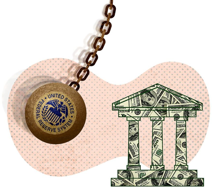 Federal Reserve Moving into the Banking Industry Illustration by Greg Groesch/The Washington Times