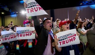 Members of the audience cheer as President Donald Trump takes the stage at the Turning Point USA Student Action Summit at the Palm Beach County Convention Center in West Palm Beach, Fla., Saturday, Dec. 21, 2019. (AP Photo/Andrew Harnik)