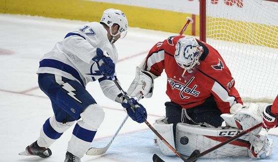 Washington Capitals goaltender Braden Holtby (70) stops the puck next to Tampa Bay Lightning left wing Alex Killorn (17) during the third period of an NHL hockey game, Saturday, Dec. 21, 2019, in Washington. (AP Photo/Nick Wass) ** FILE **