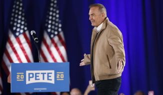 Actor Kevin Costner arrives to speak at a campaign rally for Democratic presidential candidate South Bend, Ind., Mayor Pete Buttigieg, Sunday, Dec. 22, 2019, in Indianola, Iowa. Costner endorsed Buttigieg's candidacy at the event. (AP Photo/Charlie Neibergall)