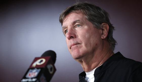 Washington Redskins interim head coach Bill Callahan talks to reporters after an NFL football game against the New York Giants, Sunday, Dec. 22, 2019, in Landover, Md. The Giants won 41-35 in overtime. (AP Photo/Alex Brandon)
