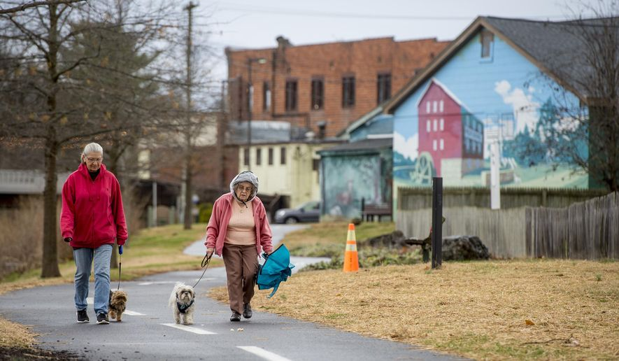 In this Tuesday, Dec. 10, 2019 photo, Marge Yandow and Snickers, left, and Leona Gray and Patches, both of Luray, Va., walk along the Hawksbill Greenway in Luray, Va., past murals depicting life in Appalachia. (Daniel Lin/Daily News-Record via AP)
