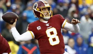 Washington Redskins quarterback Case Keenum throws a pass against the New York Giants during the second half of an NFL football game, Sunday, Dec. 22, 2019, in Landover, Md. (AP Photo/Patrick Semansky) ** FILE **