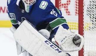 Vancouver Canucks goalie Jacob Markstrom, of Sweden, slides across the crease during the third period of the team's NHL hockey game against the Pittsburgh Penguins on Saturday, Dec. 21, 2019, in Vancouver, British Columbia. (Darryl Dyck/The Canadian Press via AP)