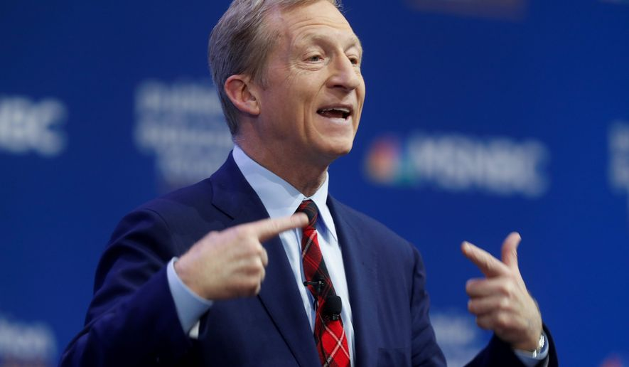 """[President Trump] actually played a businessperson on a reality TV show and that he is actually a terrible steward of the American economy,"" Democratic presidential candidate Tom Steyer said. (Associated Press)"