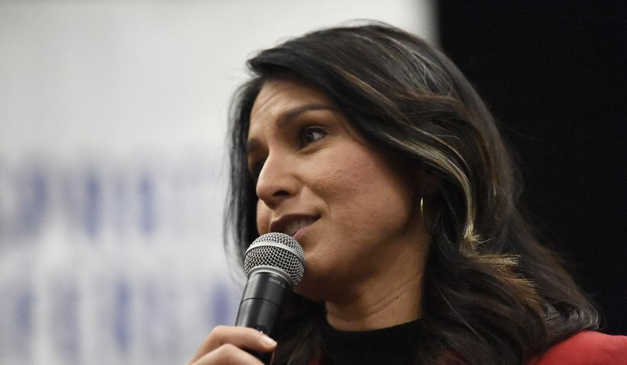 Then-Democratic presidential candidate U.S. Rep. Tulsi Gabbard, D-Hawaii speaks to Democrats gathered at the Spratt Issues Conference in Greenville, S.C., Saturday, Dec. 14, 2019. (AP Photo/Meg Kinnard) ** FILE **