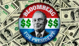 Bloomberg Campaign Money Illustration by Greg Groesch/The Washington Times